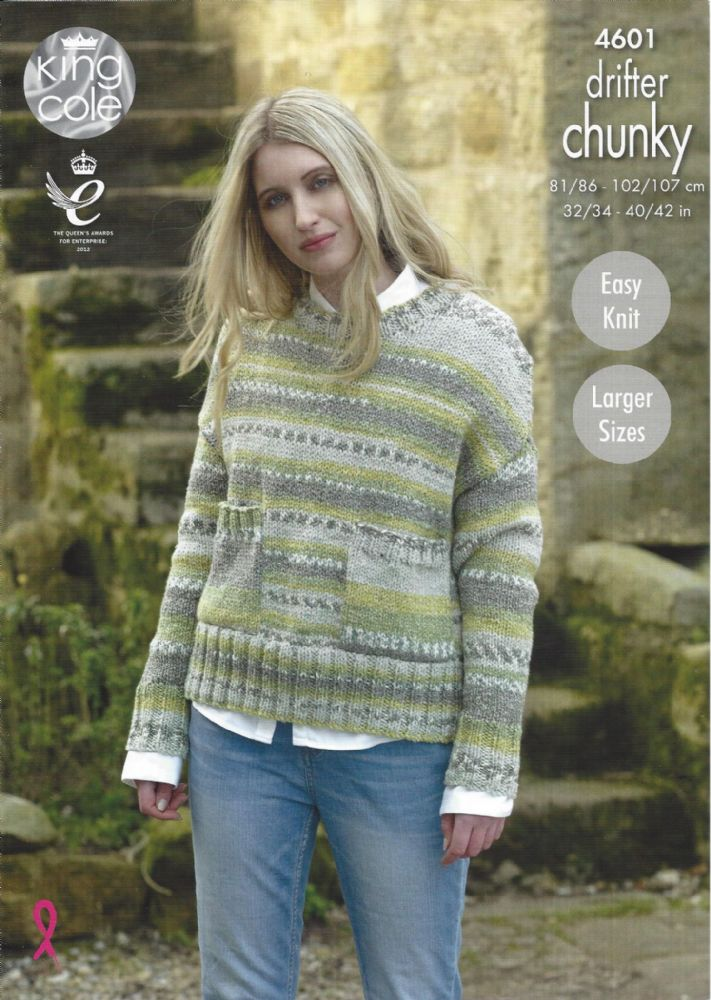 King Cole Drifter Chunky 4601 Ladies Sweaters Knitting Pattern